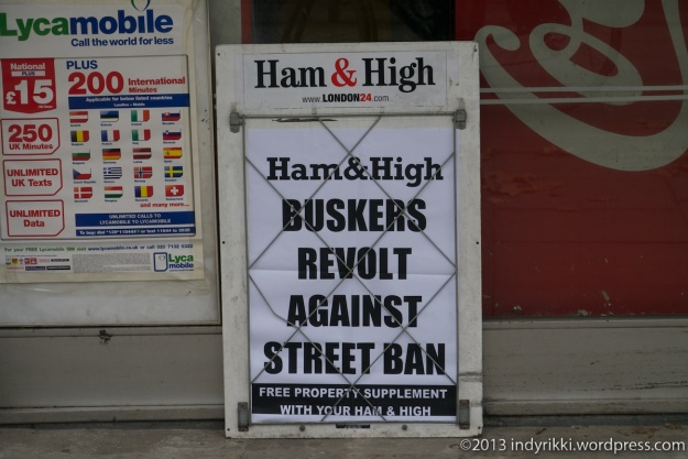 november 2013 ham & high headline re camden busking vote