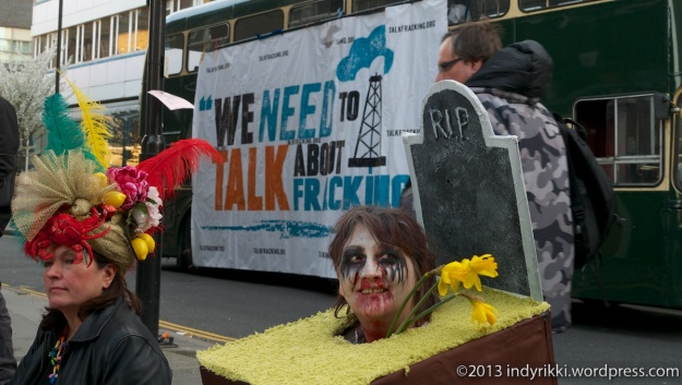 19th march 2014 frack off protests at shale gas conference in london