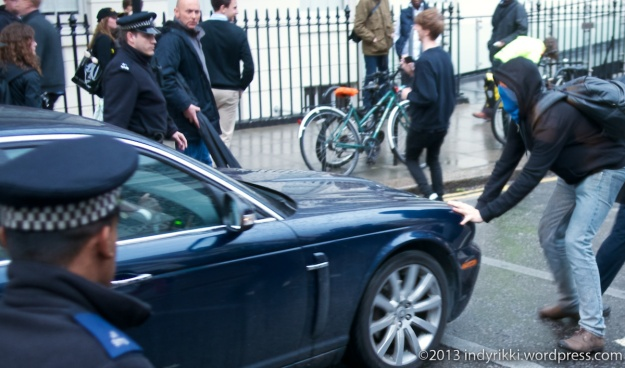 1st may 2014 students delay david willetts' car leaving UCL after speech