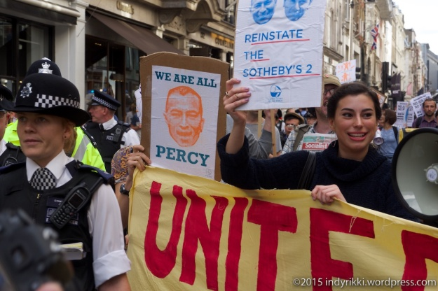 15th august 2015 protest by united voices at sotheby's auction house calling for reinstatement of cleaners sacked while fighting for sick pay