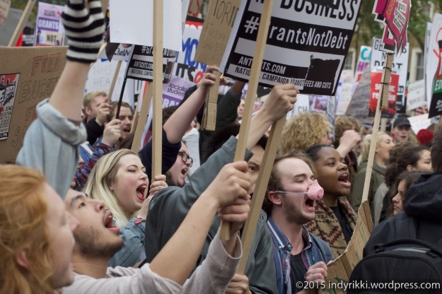 Students protest in Central London calling for free education.